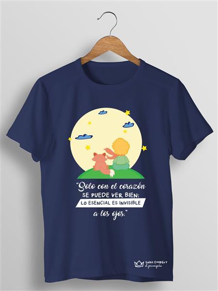 Camiseta Azul:SOLO SON EL CORAZÓN SE PUEDE VER BIEN; LO ESENCIAL ES INVISIBLE A LOS OJOS